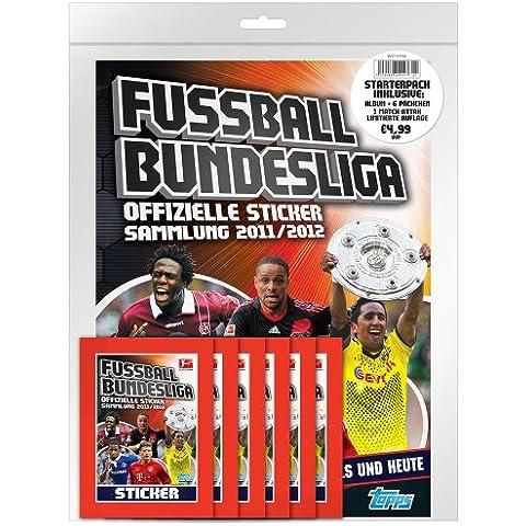 Topps TO90422  - Fútbol Bundesliga 2011/2012 Starter Pack, álbum de cromos con 6 bolsas a 5 pegatinas y 1 tarjeta del partido