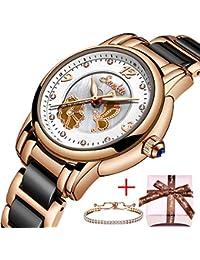 11c92a89109b SUNKTA Lujo Oro Rosa Cerámica Reloj de Dama Impermeable Cuarzo analógico  Reloj por Mujer Casual Negocios