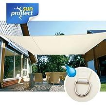 sunprotect 83246 sunprotect Sonnensegel waterproof, 6 x 4 m, Rechteck, creme (1 Stück)
