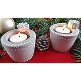 Beton, Steinguss Teelichtbecher handbemalt aus Beton Steinguss mit Teelicht weiß patiniert. 2er Pack als Geschenk verpackt!