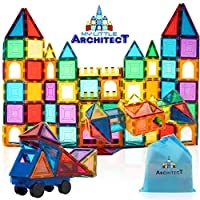 My Little Architect, Magnetic Tiles for Kids, 100-piece 3D Magnet Block Building Set Educational Construction Toy, Best Gift for Boys and Girls 3-Years Old and up, Bonus Stylish Carrying Bag.