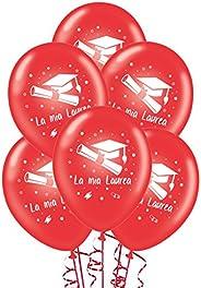 ocballoons 20 Palloncini Laurea Rossi Biodegradabili Made in Italy Addobbi e Decorazioni per Feste Party Gonfi