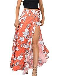EOZY Skirt Robe Maxi Longue Imprimé Fleur Moulant Taille Haut