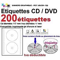 200 étiquettes CD - DVD autocollantes standard autocollant de diamètre 117 mm + trou 17 mm - livré avec curseur de placement - feuille de 2 étiquettes - étiquette cd/dvd pour imprimante jet d'encre et laser- pour imprimer et personnaliser vos cd avec des images ou textes - compatibles tous logiciels standards - Marque UNIVERS GRAPHIQUE - RÉFÉRENCE UGCD1