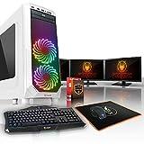 Fierce APACHE RGB/RVB PC Gamer Paquet - Vite 4 x 4GHz Quad-Core Intel Core i7 4790, 1To Seagate FireCuda Solid State Hybrid Drive, 8Go of 1600MHz DDR3 RAM / Mémoire, NVIDIA GeForce GTX 1060 6Go, ASUS H81M-P PLUS Carte Mère, GameMax Prism White Boite D'ordinateur/RGB/RVB Fans, HDMI, USB3, Wi - Fi, VR Prêt, Parfait pour les jeux haut de gamme, Windows non Inclus, Clavier (UK/QWERTY), Souris, moniteurs 3x 24 pouces, 3 Ans De Garantie 451588