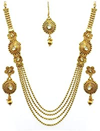 Chirag Jewellery Antique Kundan Traditional Maharani Temple Necklace Set / Jewellery Set With Earrings For Women