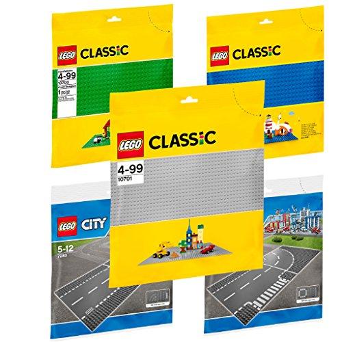 LEGO Bauplatten Set: 7280 + 7281 Straßenplatten + 10700 grüne Bauplatte + 10701 graue Grundplatte + 10714 blaue Bauplatte Lego Schwimmbad