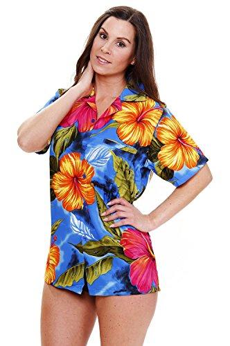 King Kameha | Funky Chemise Hawaïenne | Dames | XS - 6XL | Manches Courtes | Poche Avant | Hawaii-Print | Grande Fleur | Bleu Clair bleu clair