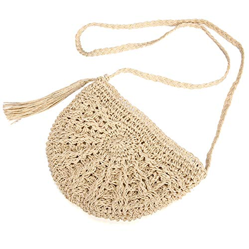 Stroh Crossbody Tasche, JOSEKO Frau Weben Schulter Tasche Sommer Strand Geldbörse zum Reise Täglicher Gebrauch Beige