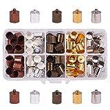 PandaHall Elite 100 Teile/schachtel Messing einkleben Stil Halskette Crimp Endkappen Für Schmuckherstellung, 14x10mm, Loch: 1mm, 5 Mischfarben