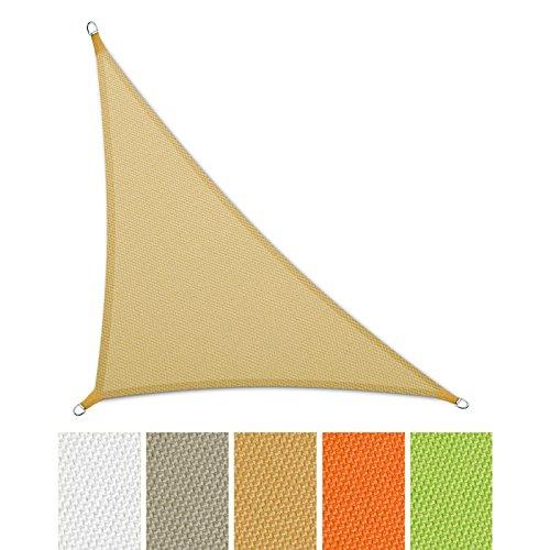 casa pura Sonnensegel Wasserabweisend imprägniert | Dreieck | Testnote 1.4 | UV Schutz | Verschiedene Farben und Größen (Sandfarben, 5 x 5 x 7 m)
