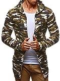 LEIF NELSON Herren Pullover Hoodie Sweatjacke Longsleeve Sweatshirt Jacke Basic Rundhals Langarm Oversize Shirt Hoody Sweater LN6298; Größe S; Camouflage