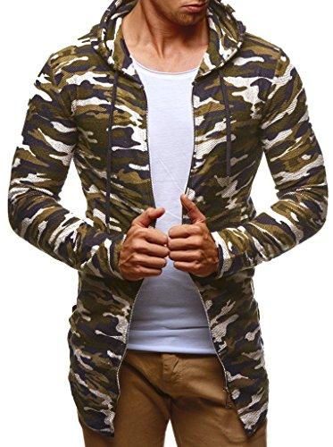 Camo Kinder-camouflage-t-shirt (LEIF NELSON Herren Sweatjacke mit Kapuze Slim Fit Baumwolle-Anteil | Basic Männer Hoodie-Cardigan Langarm | Jungen Schwarze Kapuzenjacke für Winter Sommer | LN6301 Camouflage Medium)