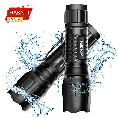 LED Taschenlampe [2 Stück] Agedate Taktische Taschenlampe 1800 Lumen Extrem Hell, IP65 Wasserfest, 5 Modis Einstellbar CREE T6 Handlampe für Camping, Wandern und Notfälle (Batterie Nicht Enthalten)