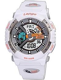 Exhibición doble / reloj electrónico de múltiples funciones / reloj militar luminoso / reloj de los deportes / tabla de salto impermeable / relojes de los hombres , white n5