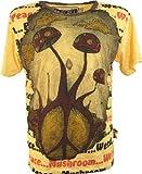 Guru-Shop Weed T-Shirt Pilz - Mangogelb, Herren, Baumwolle, Size:M, Bedrucktes Shirt Alternative Bekleidung