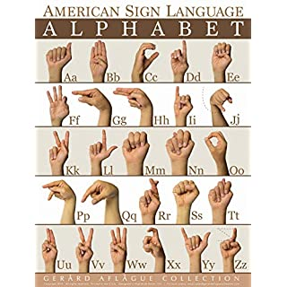 Gerard Aflague Collection - American Sign Language Alphabet (ABC) Poster - Fine-Art Giclee Printed, 18x24 Inches - Matte Finish