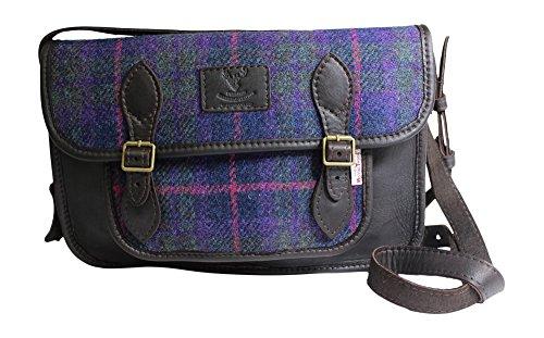 Barrhead Leather , Damen Schultertasche Purple Tartan Large