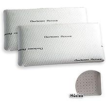Pack de 2 almohadas Viscoelástica Modelo CARBONO PERFORADA, Máxima Adaptabilidad, Blanca - 70 cm - Otras Medidas disponibles