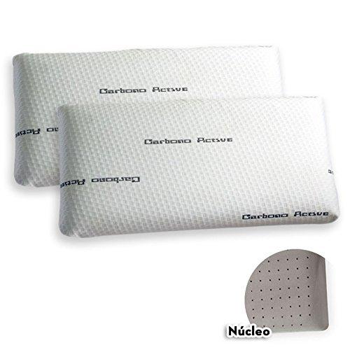 Pack de 2 almohadas Viscoelástica Modelo CARBONO PERFORADA, Máxima Adaptabilidad, Blanca - 60 cm - Otras Medidas disponibles