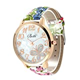 #8: Rrimin New Arrival Casual PU Leather Butterfly Watch Female Wristwatch NO.4