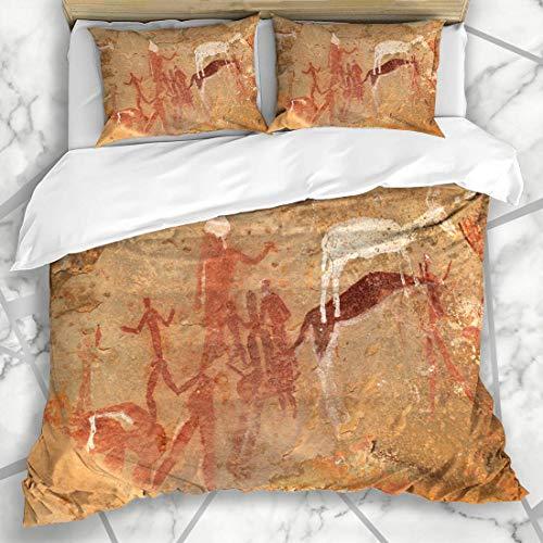 Soefipok Bettwäschesets Archäologie Süd Buschmänner San Rock Malerei Menschliche Ureinwohner Figuren Abstrakt Afrika Wildlife Cave Afrikanische Mikrofaser Bettwäsche mit 2 Kissenbezügen