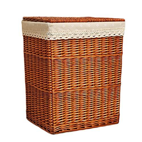 LINGZHIGAN Panier à linge Ménage Rotin Coton Toile De Jute Doublure Poubelle Sale Vêtements Divers Panier De Rangement Intérieur (Color : B, Size : 46 * 35 * 50cm)
