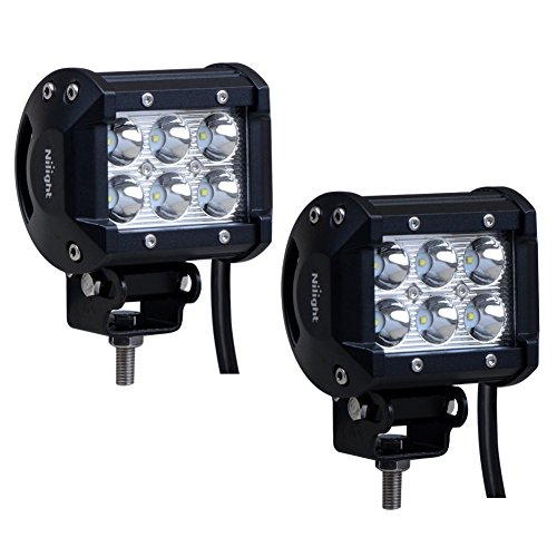 Nilight 2x 18W 1260LM CREE LED Spot guida Fendinebbia LED lavoro luce bar staffa di montaggio per SUV Barca 4x 4Jeep lampada, 2anni di garanzia