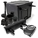 Set: Filtro stagno 12000l SuperEco 80W Pompa 18W UVC pompa per fontana Skimmer