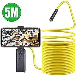 Kriogor Caméra d'inspection, Endoscope 1200P HD 2.0 mégapixels 8mm WiFi USB, caméra étanche pour Tuyau avec 8 LED réglables et Support pour téléphone pour Smartphone Android iOS (5m)