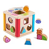 Yikky Multi-Fonction en Bois Activité Cube Jouets D'apprentissage, Trieuse de Forme et Block Maze w Portant Stripe pour Les Bébés d'âge 18 Mois et Plus