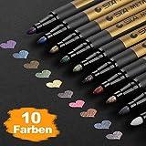 Premium Metallic Marker, DealKits 10 Farben Metallischen Stift Pens mit 3 Zeichenschablonen für Kartenherstellung DIY Fotoalbum Gästebuch Hochzeit Papier Glas Kunststoff Stein - feiner Spitze(1,5 mm)
