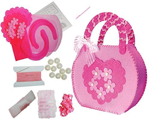 alles-meine.de GmbH Bastelset - Filz Henkeltasche -  Blume & Herz rosa  - zum Sticken, einfaches Nähen per Hand - Tasche / Filztasche - Komplettset filzen - Creativ - Filzset z..