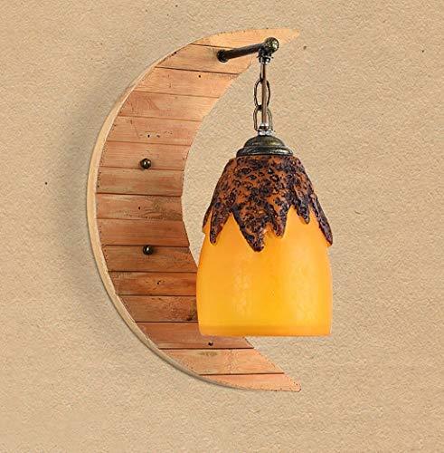 H&H HH Meubles de Maison Vintage Lampe de Mur rétro en Bois Lampe de résine Abat-Jour Lampe de Mur en Bambou Nordique Simple Creative Art éclairage