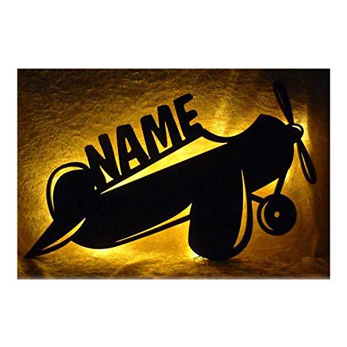 Schlummerlicht24 Kinder Propeller Flugzeug mit Name Nachtlicht, Led Lampen Geschenk für Mädchen und Junge Kinderzimmer