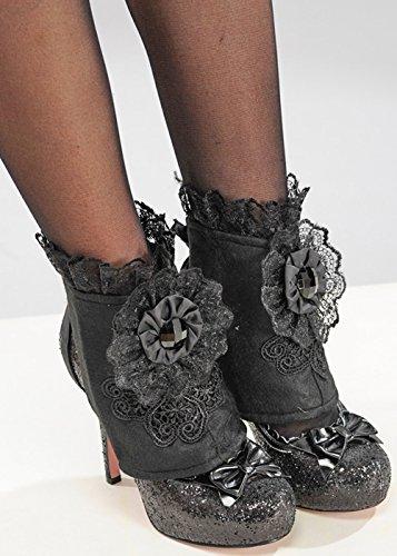 Womens Gothic Vampir schwarzer Spitze (Halloween Schuhe)