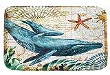 Gnzoe Flanell Teppiche Wal Muster Design Teppiche für Küche Blau 60x40CM