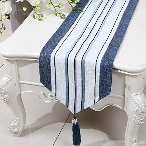 GZ Kurze Blau Weiß Streifen Tuch Tischläufer Moderne Einfache Mode Gehobenen Wohnzimmer Küche Restaurant Hotel Heimtextilien,33 * 150 cm -