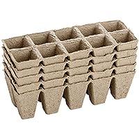 Abbaubare Anzuchttöpfe Kleine quadratisch 5 Stück - 50 Zellen, Faser biologisch abbaubar Saatschalen Töpfe für Sämlinge
