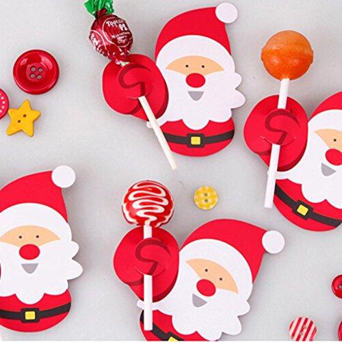 Babbo Natale 50.Hunpta 50 Decorazioni In Carta Di Babbo Natale E Pinguino Per Lecca Lecca Accessori Da Festa A Tema Natalizio Per Pan Di Zucchero A