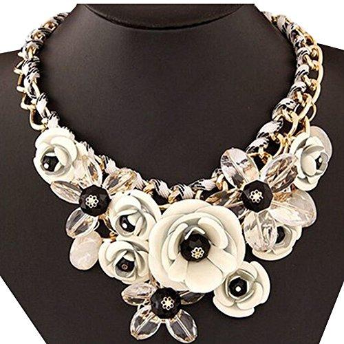 Contever® Mujer flor Colgante de Moda Artificial Cristalina Collar Gargantilla , Longitud: 45 cm -