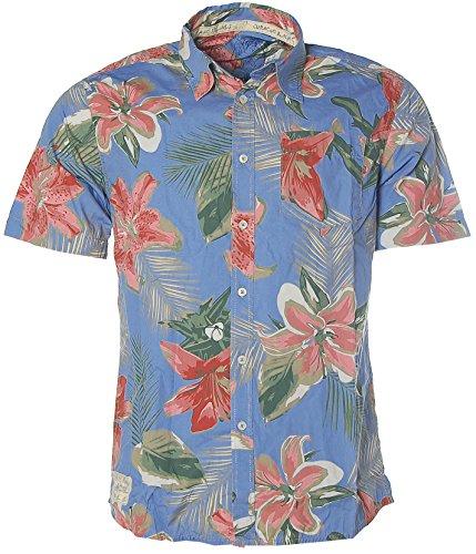 Kitaro Herren Kurzarm Shirt Hemd Freizeithemd Hawaiiprint Blumen Curacao Fadet Blue