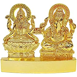 Craftsman Deko-Figur Hindu-Gott Lakshmi Ganesha, Metall, Idol-Set, Statue, Geschenk für Zuhause, Diwali, Festival, indisches Festival, Dekor, Pooja, Hochzeit, Jubiläum, Hauseinweihung, 10,2 cm