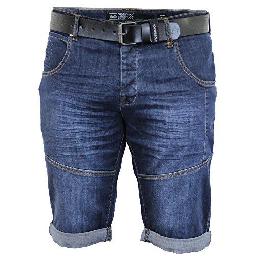 Shorts En Jean Pour Hommes Crosshatch CEINTURE Longueur Genou Roulé décoloré DécontractéÉté Neuf Délavé - LATICS