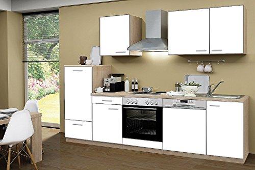 idealShopping Küchenblock mit Geschirrspüler und Chrom Kochmulde Classic 280 cm in weiß
