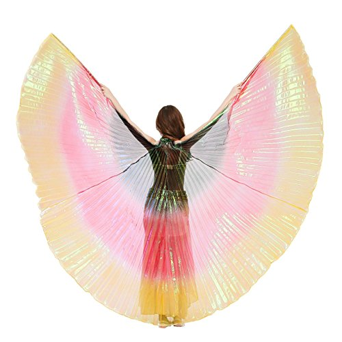 Dance Fairy Regenbogen Bauchtanz Isis Flügel Mit den Stöcken / Stäben (Schwarz-Rot-Gelb (Flügel Erwachsenen Regenbogen Die)