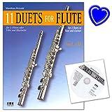 11 Duets for Flute - Notenbuch für Flöte, Klarinette von Matthias Petzold - mit CD und bunter herzförmiger Notenklammer