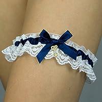 Giarrettiera di pizzo nozze matrimonio sposa biancheria intima regali de nozze blu bianco chiave key Handmade