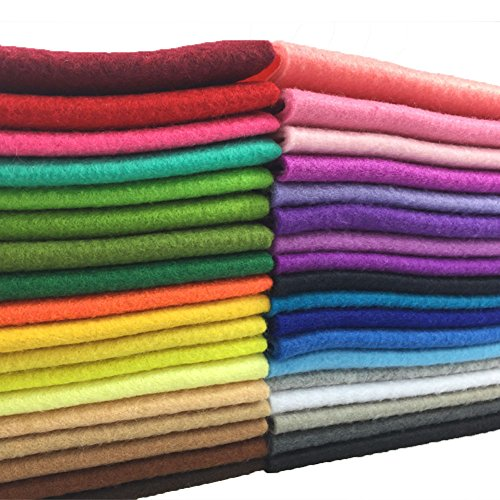 flic-flac 36pcs 1.4mm Soft Felt Fabric Sheet Assorted Color Felt Pack DIY Craft Sewing Squares Nonwoven Patchwork (20 x 30 ()