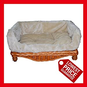 Luxury Wicker Pet sofa,dog sofa, dog couch,with cushion, Small,M,L,Available (Large) by Easyuk